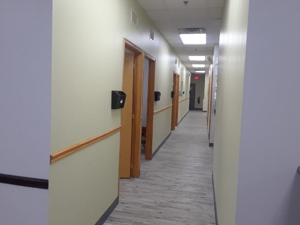Hallway to our exam rooms, surgery room, laboratory, dental area and grooming/bath room